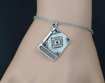 book bracelet, sterling silver filled, spell book jewelry, reading book charm, literature bracelet, library bracelet, adjustable bracelet