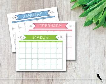 2018 Printable Wall Calendar - Colorful Classroom & Family Calendar - Appointment Calendar - Banner Calendar - Instant Download Calendar