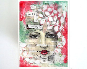 be gentle on yourself, art card - by Toni Burt - quote, mixed media art, art journal, leaf, leaves, wife mother sister girlfriend card