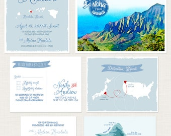 USA Japan Hawaii Illustrated Destination Wedding Invitation beach Hawaiian with illustrations of Hawaii mountains and beach Deposit payment