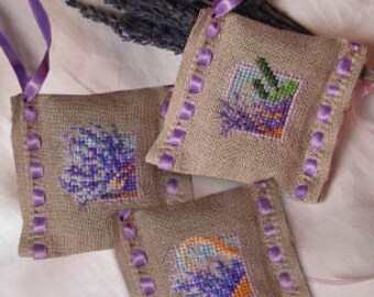 3 Lavender Sachets – counted Cross Stitch Charts to work on Linen Band.  French designer.