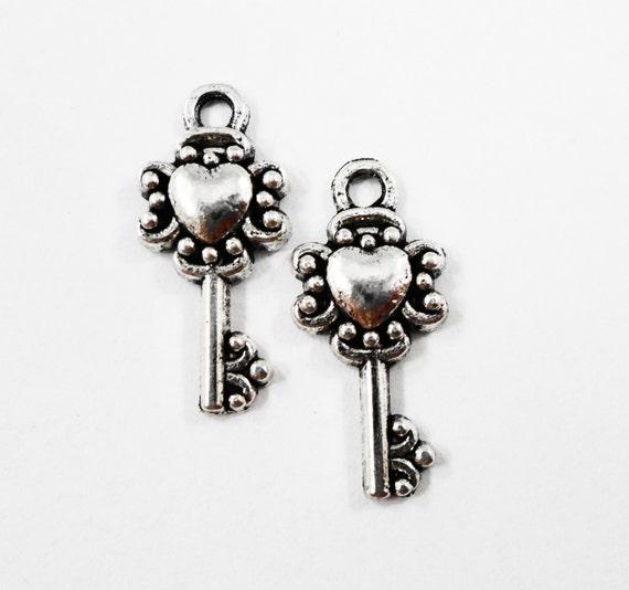 Heart Key Charms 20x9mm Antique Silver Key Charms, Small Key Pendants, Silver Metal Charms, Heart Key Pendants, Craft Supplies, 10pcs