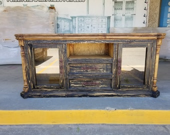 72 inch Hi End Rustic TV Stand 2 Doors 2 Drawers Western Solid Wood Black  Distressed Rough Cut Finish Ships Already Assembled