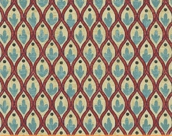 Turquoise Mosaic Cotton Fabric from the Kashmir Collection by Rosemarie Lavin for Windham Fabrics