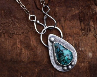 Turquoise Pendant Necklace, Turquoise Necklace, Kingman Turquoise, Silver Turquoise Necklace, Rustic Necklace, Rustic Turquoise