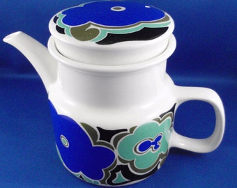 Vintage Retro 1960s Gibsons Teapot , MEXICANA design by Diana Swindell, stylized floral design