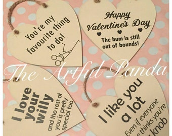Valentines day. Rude cheeky heart plaque. Valentines gift