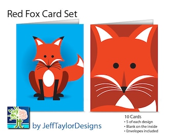 Red Fox Stationary Notecard Set - 10 Notecards with Envelopes (Blank Inside)