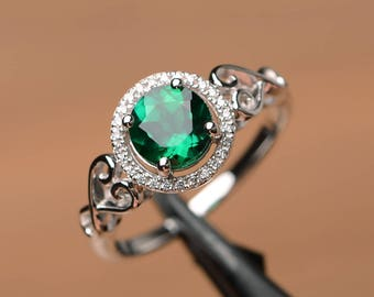 emerald ring engagement ring round cut ring sterling silver ring May birthstone green gemstone ring