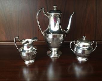 SALE 20% OFF! RARE Crescent Silver Mfg. Co. Silver-plate Stunning Georgian Queen Anne Revival Tea Service Set