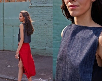 Denim Minimalist Panel Cropped Top FINAL SALE PRICE