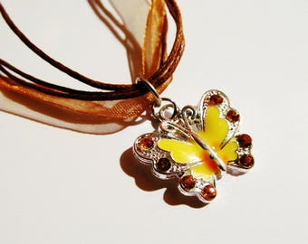 ENAMELED/ RHINESTONE/ BUTTERFLY/ Metal/Necklace/Pendant/Yellow/Brown/ Leather/Cord/Teen/Girl/Lady/Woman/ Artsy/Birthday/Jewelry/Gift/For/Her