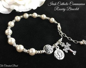 Irish Catholic Communion Rosary Bracelet with Swarovski Pearls and Sterling Silver