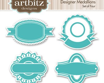 Designer Medallions No. 02014 Clip Art Kit, 300 dpi .jpg and .png
