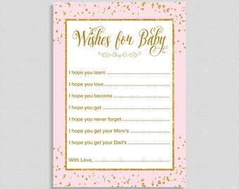 Pink Wishes For Baby Cards, Pink and Gold Glitter Confetti Baby Shower Activity, DIY Printable, INSTANT DOWNLOAD