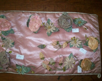 Exceptional and rare worn antique authentic ribbon work
