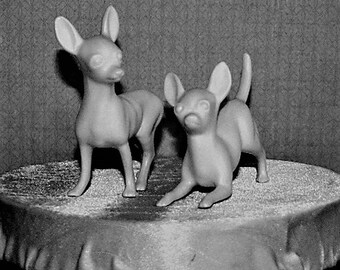 Vintage Chihuahua Dog Couple cake topper. White matt glaze that compliments your celebration. Retro 1960s.