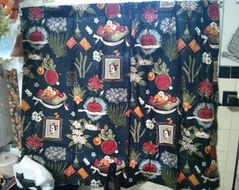 Handmade Alexander Henry Fabric Viva Frida Kahlo Window Curtain