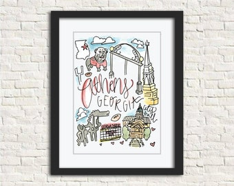 Athens, GA Watercolor City Illustration Wall Art Print // 8x10