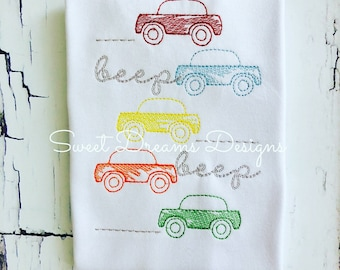 Beep Beep! Boys Vintage Stitched Cars Stacked - Transportation Tee
