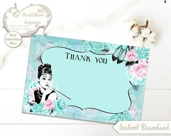 Digital Breakfast at Tiffany's Thank You Note Cards Audrey Hepburn - Printable,Download,DIY,Tea Party,Weddings,Baby Shower,Birthday