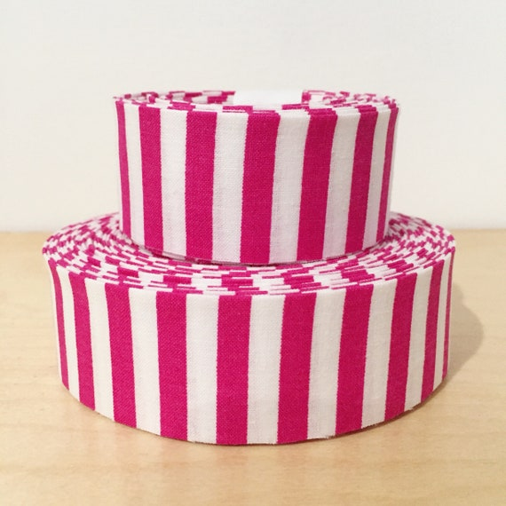 "Hot Pink and White Striped Quilt binding- 1.25"" double-fold cotton"