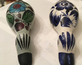 Blue and White Tonala Mexican Pottery Folk Art Duck - Little Mexican Ceramic Duck - Mexican Folk Art Animals - Hand Painted Folk Art Duck