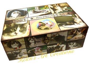 XX-Large Pet Memorial Collage Box, Pet Keepsake Box, Cat Urn, Wood Urn, Personalized Keepsake Box, Photo Collage, Custom Cat Memorial