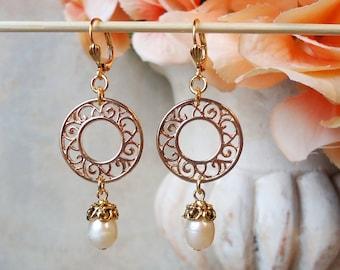 Freshwater Pearl Dangle Earrings.Beadwork.Metal Earrings.Gold.Hoop Earrings.Bridal.Long Earrings.Holiday.Formal.Bridesmaid.Gift.Handmade.
