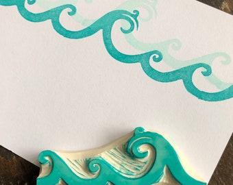 Ocean Waves Rubber Stamp Hand Carved