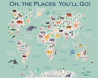 Childrens World Map, Kids Room Art, Nursery Art, Nursery Print, Animal Art, Gender Neutral Nursery Wall Art, Map of the World, Kids Map