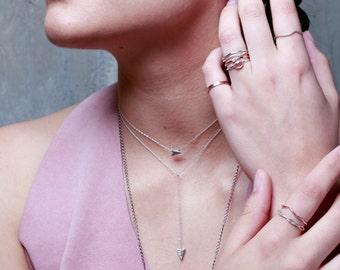 Falling Arrowhead Choker   Silver Choker Necklace