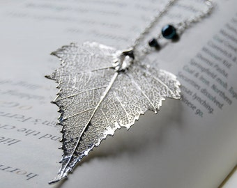 Large Fallen Silver Birch Leaf Necklace | REAL Birch Leaf | Silver Birch Necklace | Electroformed Leaf Jewelry | Silver Leaf Necklace