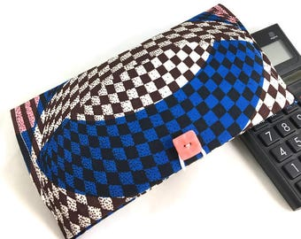 Large checkbook cover African print fabric and handmade button cheque holder