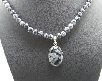 Handmade Snowflake Obsidian beaded necklace with Snowflake Obsidian pendant.