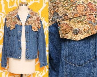 Denim Tapestry Jacket // Blue Jean Coat // 90s Carole Little Western Print Shabby Chic Hipster Grunge Size Medium