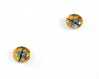 SALE 6mm Teal and Gold Dragon Glass Eye Cabochons - Taxidermy Eyes for Doll or Jewelry Making - Set of 2