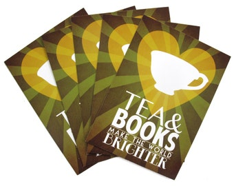 Tea & Books Postcards, Pack of 5 Tea Cup PostCards, Nerdy Paper, Geek Stationary