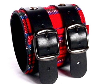 Genuine Leather Wristband, Leather Wide Bracelet Double Layer, Men Women Leather Cuff, Black Red Wool Leather Bracelet, Leather Bangle.