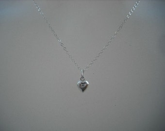 Sterling Silver Tiny Puffed Heart Necklace