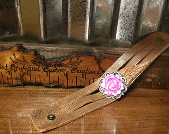 Custom rose concho painted leather cuff