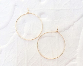 Hammered Gold Hoop Earrings Thin Gold Hoops Small
