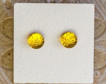 Dichroic Glass Earrings , Petite, Yellow  DGE-1421