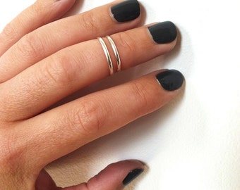 1 Silver Above the Knuckle Ring-Sterling Silver Midi Ring, Stacking ring, Silver Ring in any size
