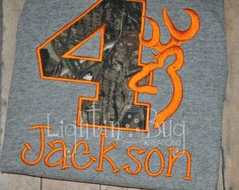 Camo Deer Birthday Personalized Shirt