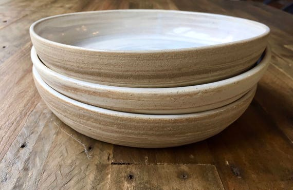ceramic plate - beige and white marbled clay- kitchenware Blate