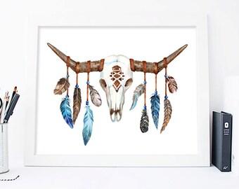 Bull Head Print, Bull Skull Print, Cow Horns, Feathers art, Boho skull Printable skull Boho Wall Art, Native Art, Tribal Print, For Him