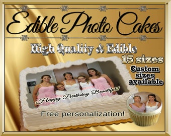Custom edible cake pictures! Cupcakes cookies toppers photographs pictures frosting paper decals logos face graduation images sugar wafer