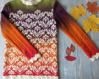 SOLD Jacquard sweater hand-knit Fall