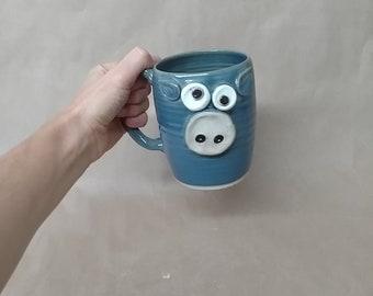 Blue Pig Mug. Piggy Pig Piggies Lover Coffee Cup. 16 Ounces. Funny Farm Barnyard Pottery Mugs. Farm Life Country Living Handmade Pottery